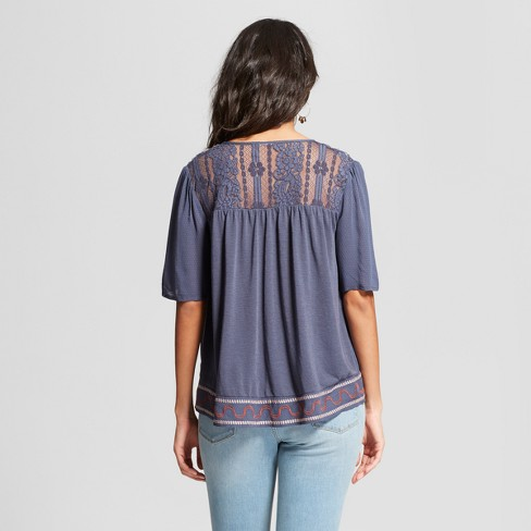 Women s Short Sleeve Embroidered Lace Back Peasant Top - Knox Rose™ Blue L    Target 81787af80