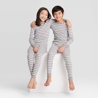 Kids' Striped 100% Cotton Tight Fit Matching Pajama Set - Gray