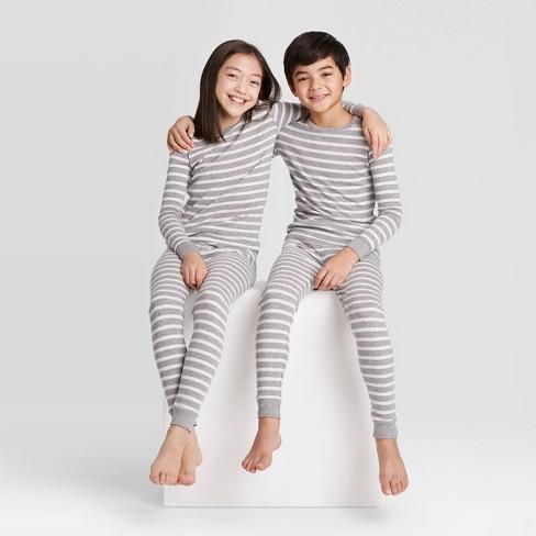 Kids' Striped 100% Cotton Tight Fit Matching Pajama Set - Gray - image 1 of 3