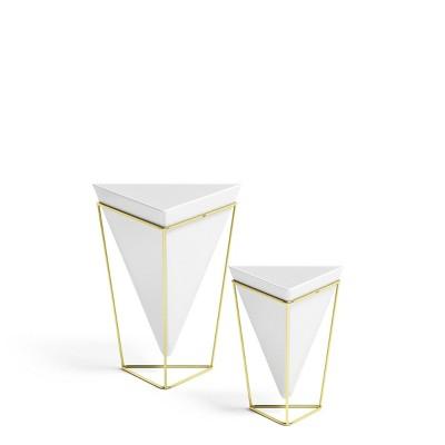 Set of 2 Trigg Tabletop Vessels White/Brass - Umbra