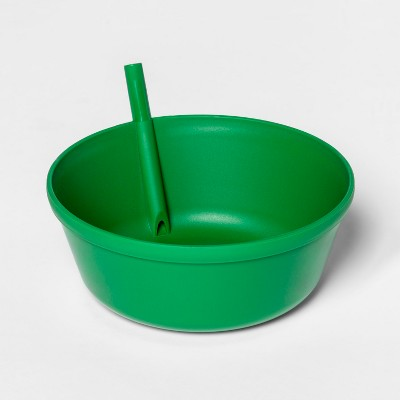13.5oz Plastic Kids Bowl with Built In Straw Green - Pillowfort™