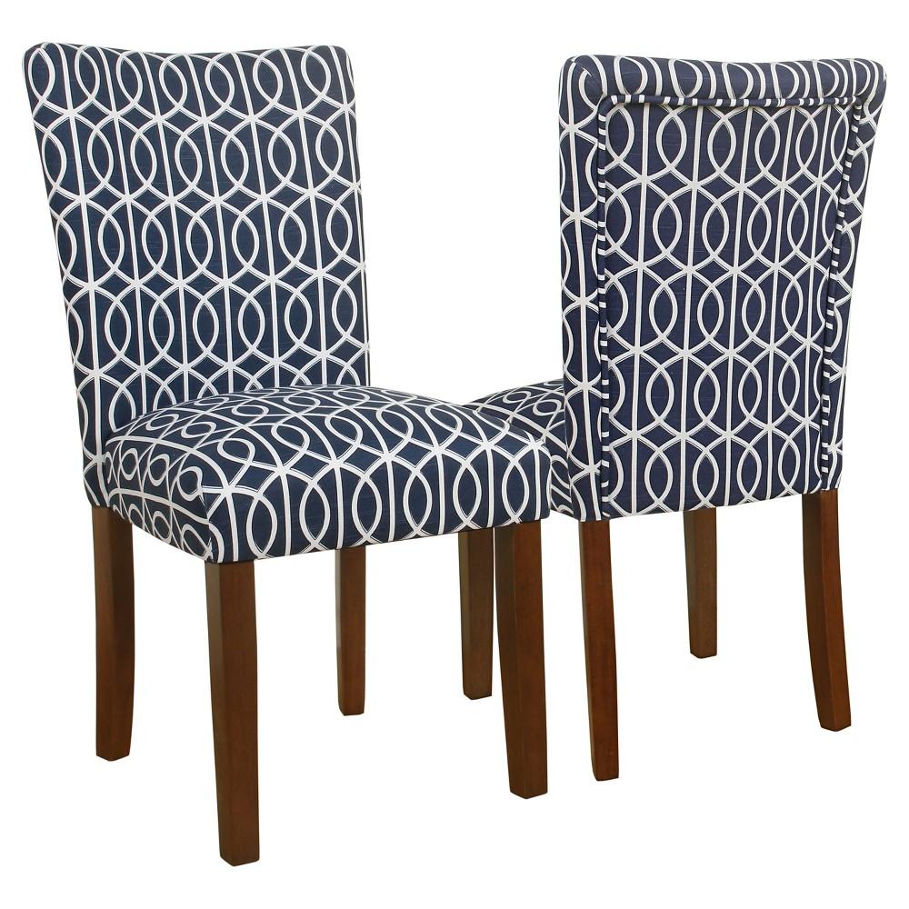 Parsons Chair - Blue Trellis (Set of 2) - HomePop