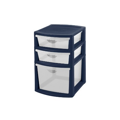 Sterilite 3 Drawer Utility Storage Cart Deluxe Tower Navy