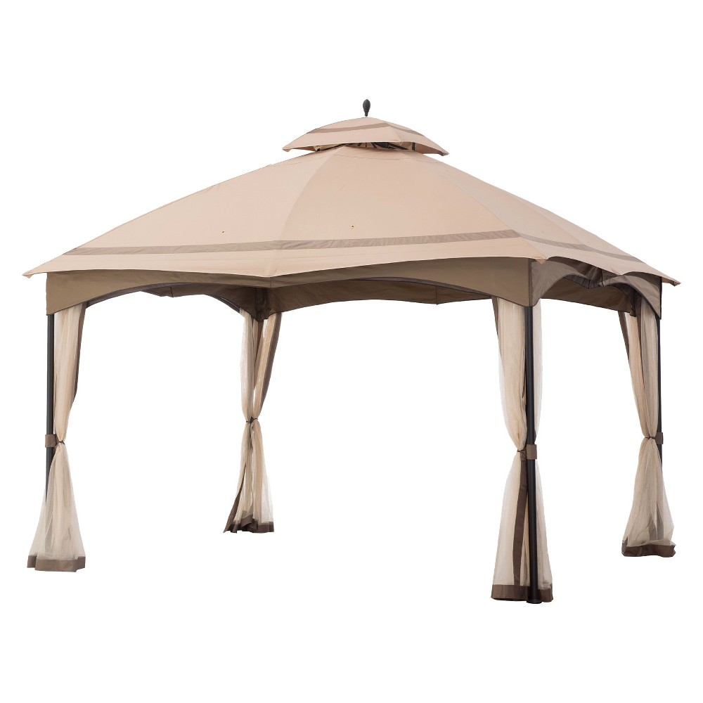 12'x10' Cabin-style Soft top Gazebo with Netting Brown - Sunjoy