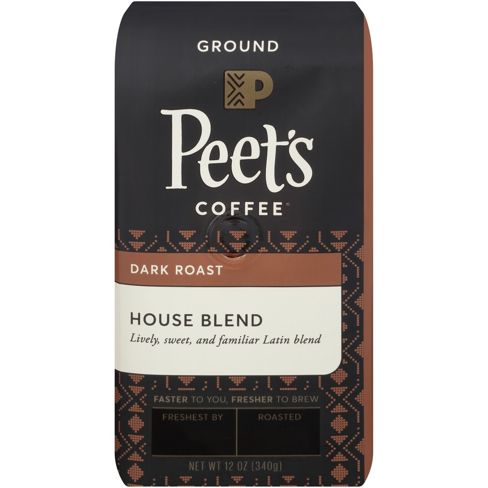 Peet's House Blend Dark Roast Ground Coffee - 12oz Start your day off right with a cup of Peet's House Blend Deep Roast Ground Coffee. Pre-ground coffee boasts an added convenience that whole bean coffee doesn't — it comes ready to brew. Simply toss the grounds in your drip coffee maker, espresso machine or whatever your preferred brewing method is, and enjoy this slightly spicy coffee.