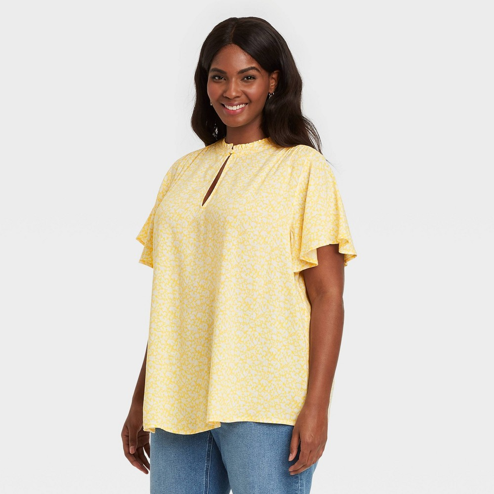Women 39 S Plus Size Floral Print Short Sleeve Femme Flutter Blouse Ava 38 Viv 8482 Yellow 3x