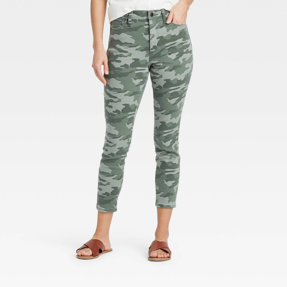 Women 39 S High Rise Skinny Cropped Jeans Universal Thread 8482 Camo 8