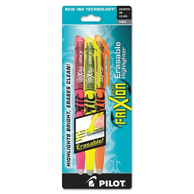 Pilot Frixion Lite Erasable Highlighter Assorted Ink Chisel 3/Pack 46507