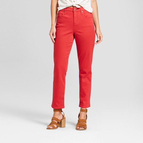 Women's High-Rise Straight Jeans - Universal Thread™ Red - image 1 of 3