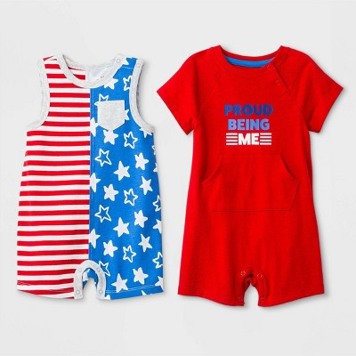 Baby Boys' 2pc Sleeveless Stars and Stripes Romper and Short Sleeve  Proud Being Me  Romper - Cat & Jack™ Red/Blue Newborn