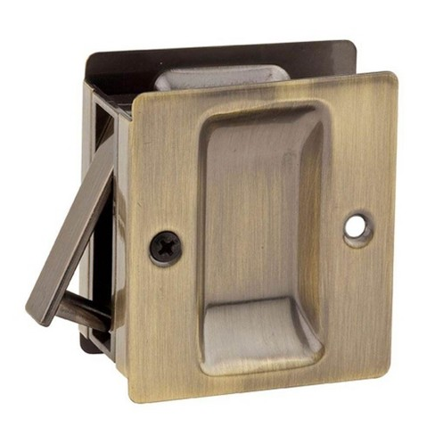 Kwikset Notch Hall & Closet 1.375 Inch Sliding Door Pocket Lock, Antique Brass - image 1 of 1
