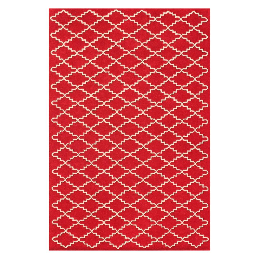 6'X9' Quatrefoil Design Tufted Area Rug Red/Ivory - Safavieh