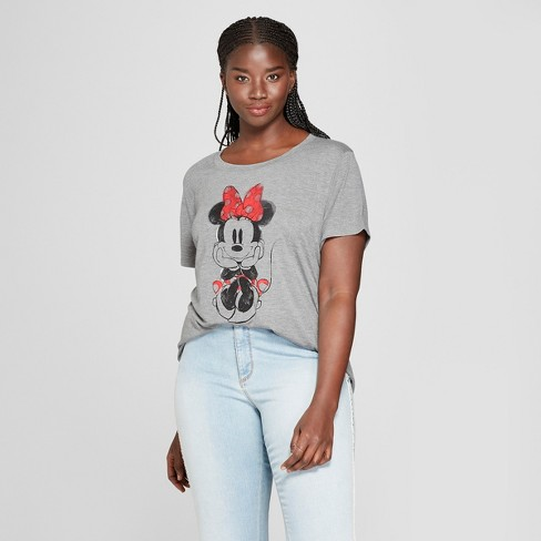 f56afd61 Women's Disney Plus Size Minnie Mouse Short Sleeve Watercolor Graphic T- Shirt (Juniors') Gray