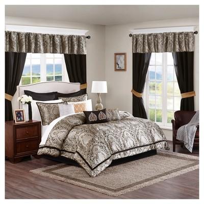 Black Tracy Jacquard Comforter Set (Queen) 24pc
