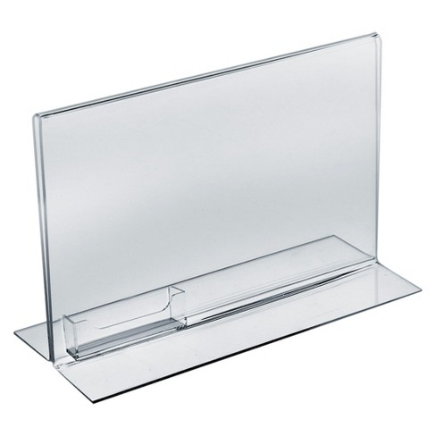 "Azar® 11"" x 8.5"" Double-Foot Acrylic Sign Holder With Attached Business Card Pocket 10ct - image 1 of 1"