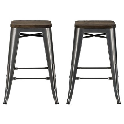 """Set Of 2 24"""" Fiora Backless Metal Counter Height Barstools With Wood Seat - Room & Joy : Target"""