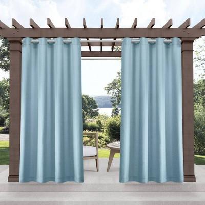 Set of 2 Indoor/Outdoor Solid Cabana Grommet Top Curtain Panels Blue - Exclusive Home