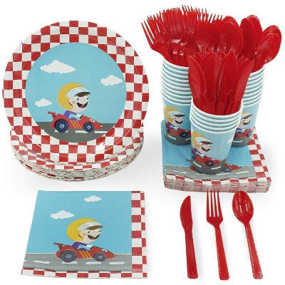 Juvale 144 Pieces Serves 24 Racecar Birthday Party Supplies - Disposable Plate, Napkin, Cup & Cutlery