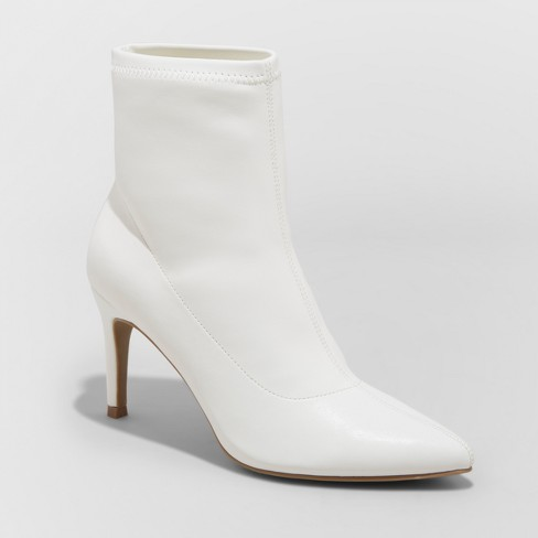 3095cc7b8fc Women's Cady Stiletto Sock Booties - A New Day™ White 6.5