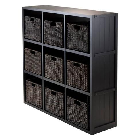 10pc 3x3 Timothy Set Storage Shelf with Folding Fabric Baskets Black - Winsome - image 1 of 3