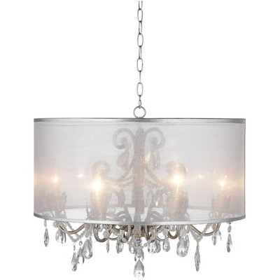 """Possini Euro Design Antique Silver Drum Swag Pendant Chandelier 23"""" Wide Crystal Acrylic Beads Sheer Organza Shade Fixture Kitchen"""