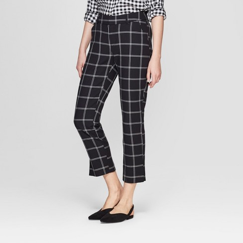 aa2d3733585fd5 Women's Plaid Straight Leg Slim Ankle Pants - A New Day™ Black : Target