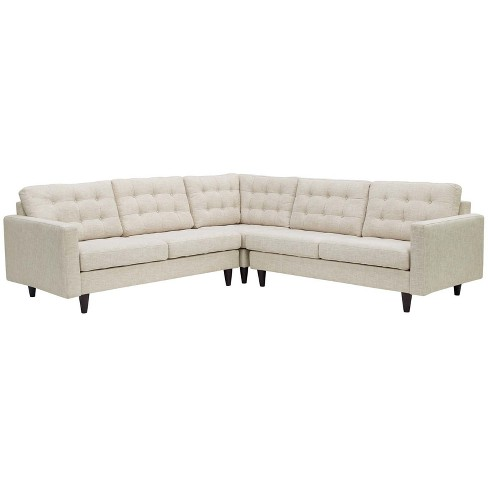 Empress 3pc Upholstered Fabric Sectional Sofa Set Beige - Modway - image 1 of 5
