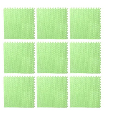 Puzzle Exercise Mat with EVA Foam Interlocking Tiles for MMA, Workouts, Exercise, Gymnastics and Home Gym Protective Flooring - Green (9 Pack)