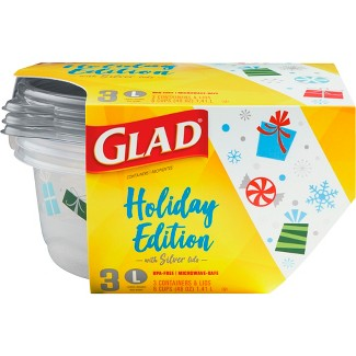 Glad Holiday Edition Big Bowl Food Storage Containers - 3ct