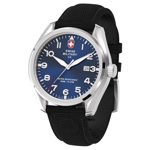 Men's Swiss Military by Charmex Pilot silver tone fabric band watch - Black - image 1 of 2