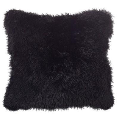 """Black Juneau Classic Faux Fur Throw Pillow (18"""")- Saro Lifestyle"""