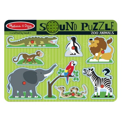Melissa And Doug Zoo Animals Wooden Peg Sound Puzzle 8pc