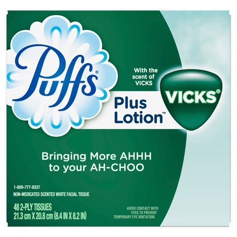 Puffs Plus Lotion With The Scent Of Vick's Facial Tissues 1 Cube Box - 48ct - image 1 of 4