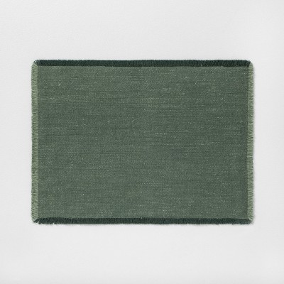 Placemat with Frayed Edge Green - Hearth & Hand™ with Magnolia