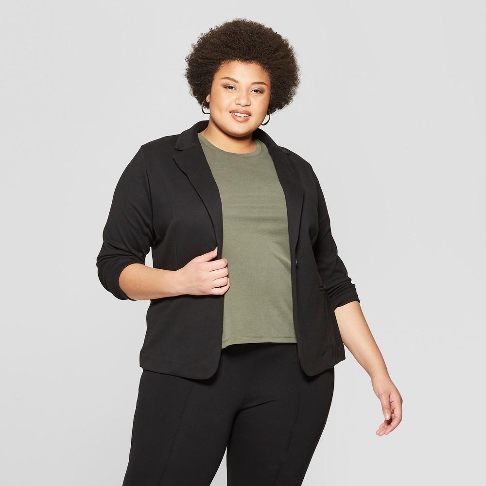 Best Discount Women Plus Size Knit Blazer Ava Viv BlackWhite 2X