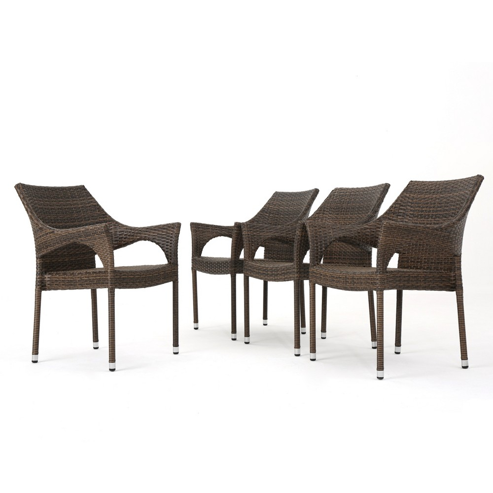 Mirage 4pk Wicker Stacking Dining Chair - Mocha (Brown) - Christopher Knight Home