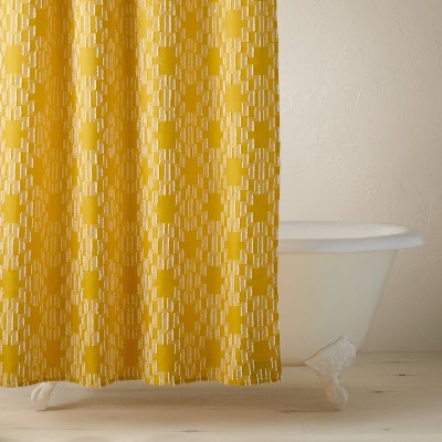 Clipped Geo Shower Curtain Yellow - Opalhouse™ designed with Jungalow™