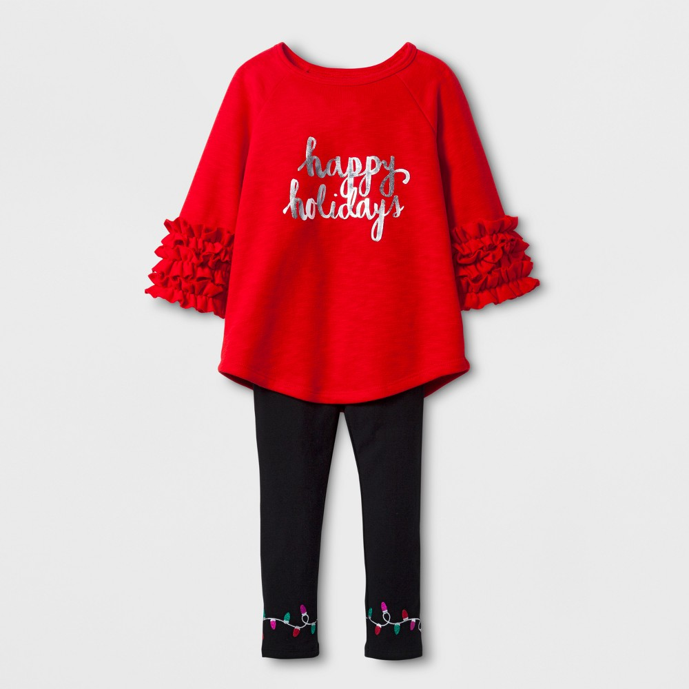 Toddler Girls' Happy Holidays Top And Bottom Set - Cat & Jack Wowzer Red 4T
