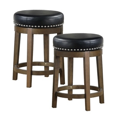 Lexicon Whitby 25 Inch Counter Height Wooden Bar Stool With Solid Wood Legs And Faux Leather Round Swivel Seat Kitchen Barstool Dining Chair 2 Pack Target