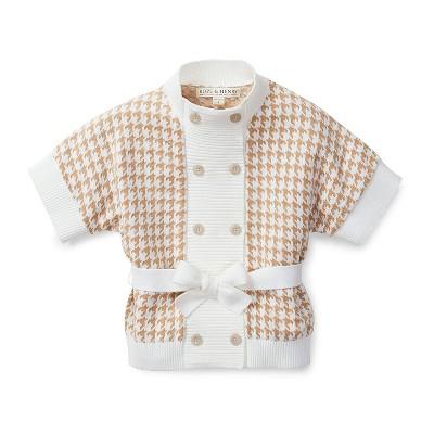 Hope & Henry Girls' Ivory Houndstooth Sweater Cardigan, Toddler