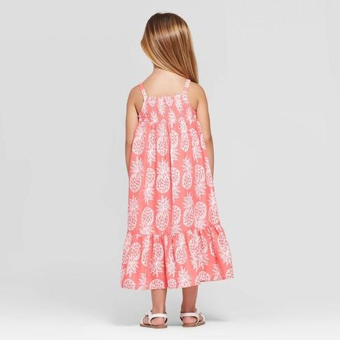 03479bdf4 Toddler Girls' Pineapple Printed Maxi Dress - Cat & Jack™ Peach : Target