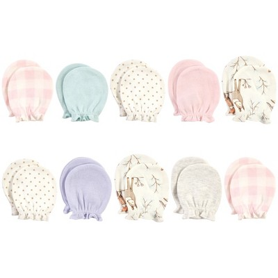 Hudson Baby Infant Girl Cotton Scratch Mittens, Enchanted Forest, 0-6 Months
