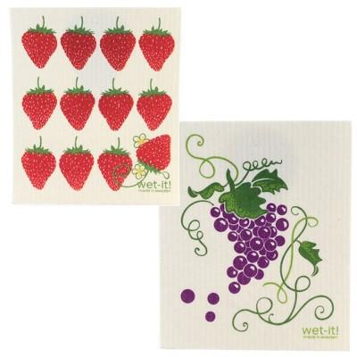 "Swedish Dish Cloth 7.75"" Grapevine & Strawberries Eco Friendly  -  Dish Cloth"