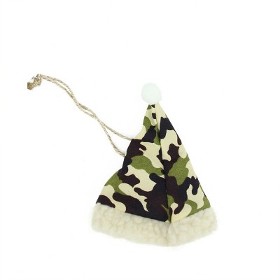 """Ganz 4.25"""" Camouflage Patterned Hunting Santa Hat with Faux Fur Brim Christmas Ornament - Green/Black"""