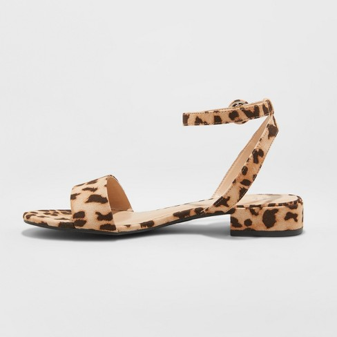 ab5b489af93 Women s Winona Leopard Ankle Strap Sandals - A New Day™ Brown   Target