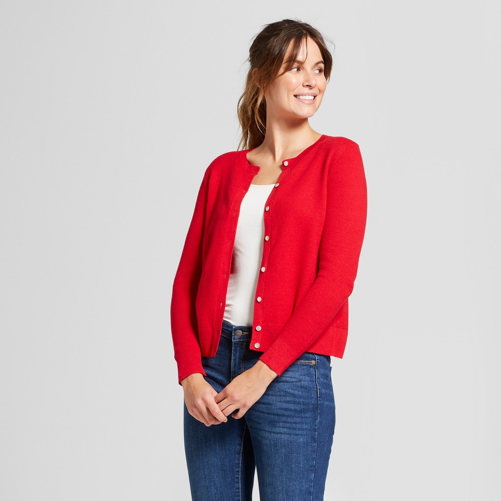 Women's Long Sleeve Any Day Cardigan - A New Day Red S
