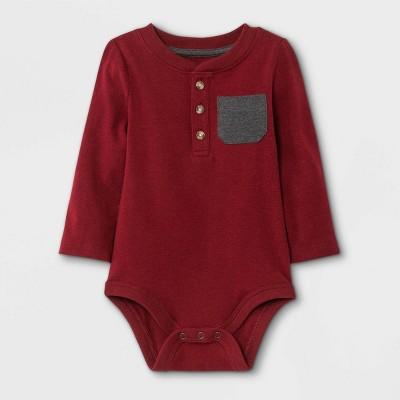 Baby Boys' Henley Long Sleeve Bodysuit with Pocket - Cat & Jack™ Maroon 0-3M