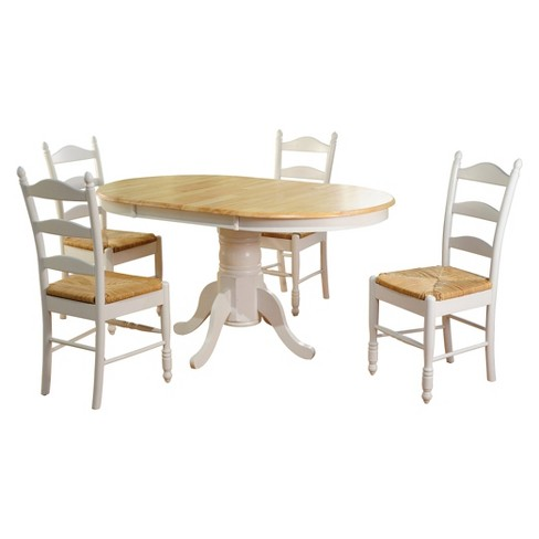 Astonishing 5 Piece Farmhouse Ladder Back Dining Table Set Wood White Tms Beutiful Home Inspiration Cosmmahrainfo