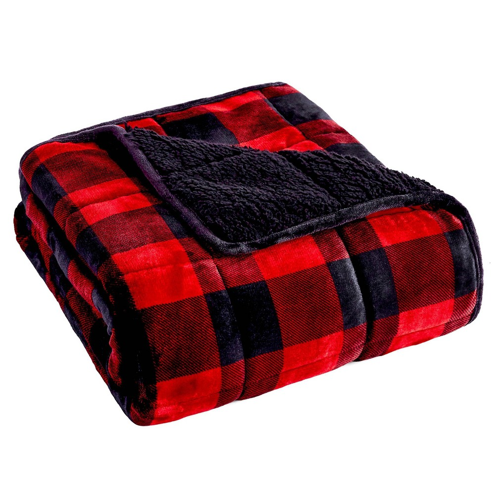 48 34 X 72 34 Printed Velvet To Sherpa 12lbs Weighted Throw Blanket Red Buffalo Check Rejuve