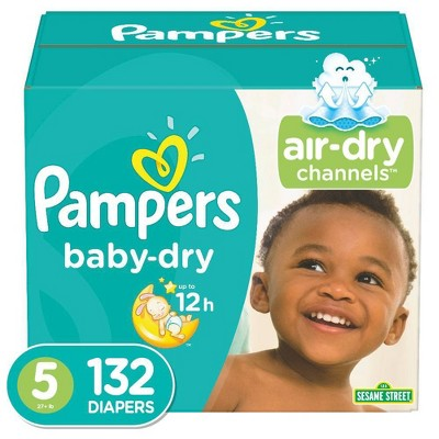 Pampers Baby Dry Disposable Diapers Enormous Pack - Size 5 (132ct)
